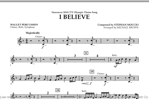 I Believe (Vancouver 2010 CTV Olympic Theme Song) (COMPLETE) sheet music for concert band by Stephan Moccio