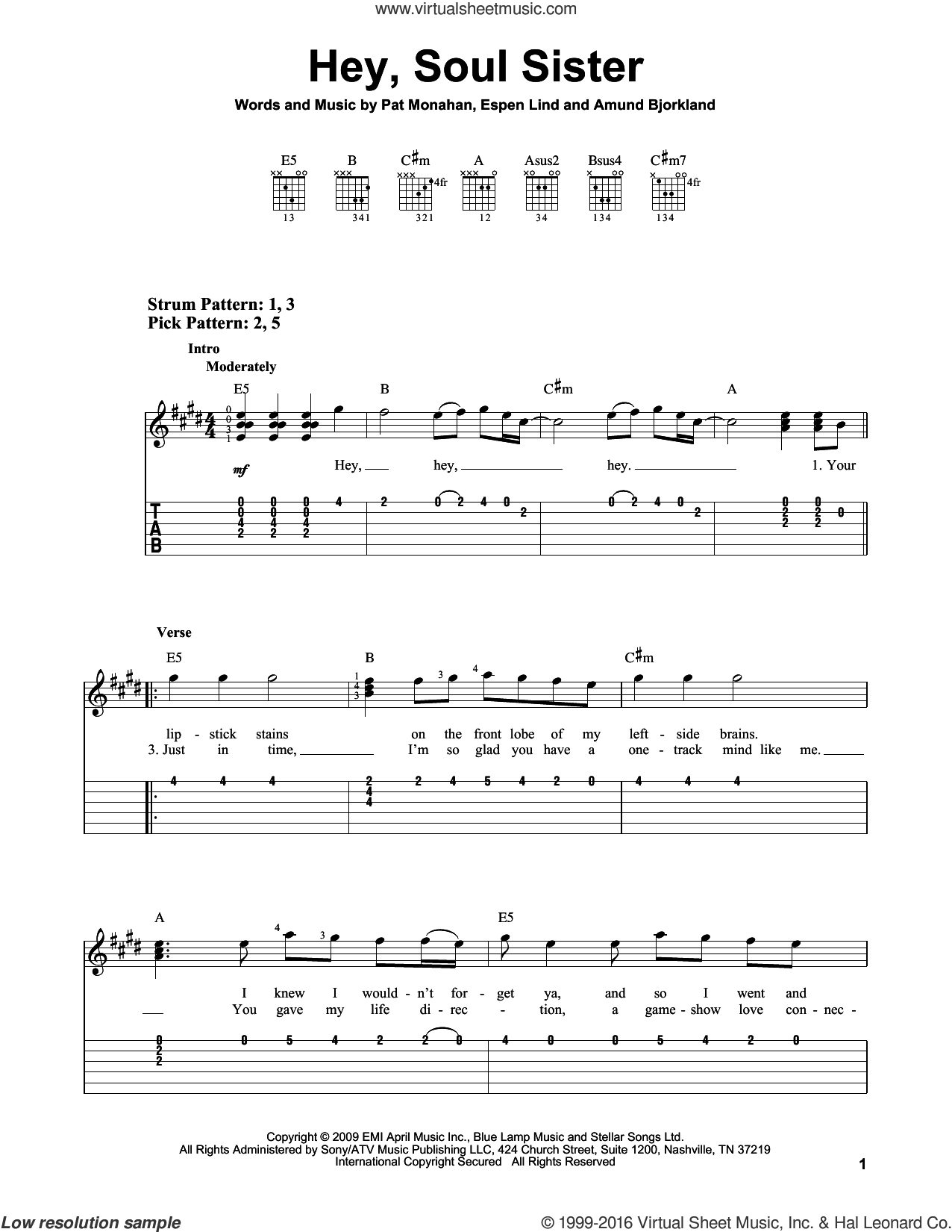 Hey, Soul Sister sheet music for guitar solo (easy tablature) by Pat Monahan