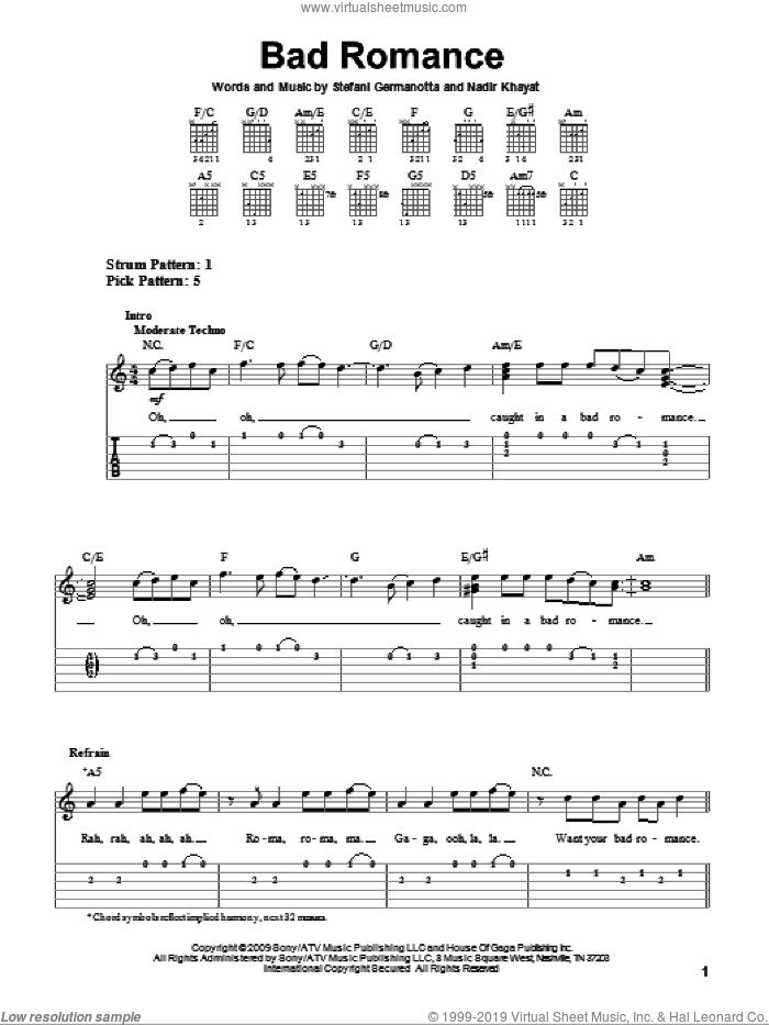 Bad Romance sheet music for guitar solo (easy tablature) by Lady GaGa and Nadir Khayat, easy guitar (easy tablature). Score Image Preview.