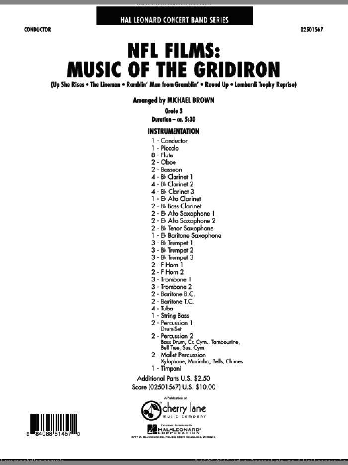 NFL Films: Music Of The Gridiron sheet music for concert band (full score) by Michael Brown