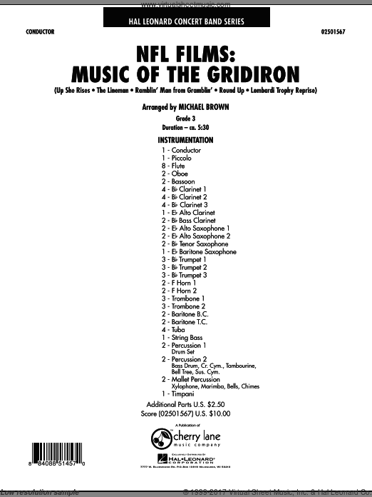 NFL Films: Music Of The Gridiron (COMPLETE) sheet music for concert band by Michael Brown