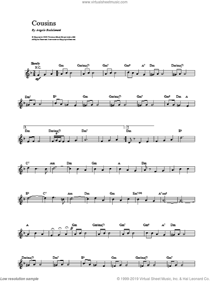 Cousins sheet music for voice and other instruments (fake book) by Angelo Badalamenti. Score Image Preview.