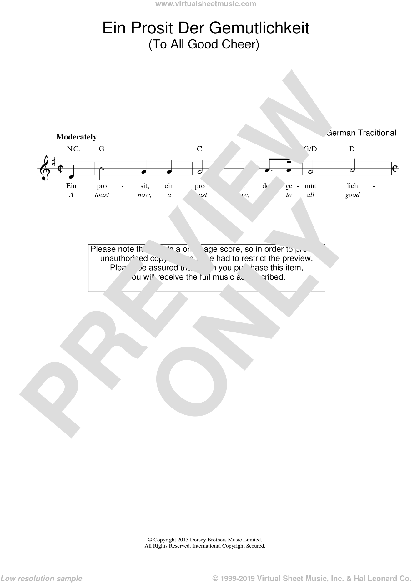 Ein Prosit Der Gemutlichkeit sheet music for voice and other instruments (fake book) by GERMAN TRAD. and Miscellaneous. Score Image Preview.