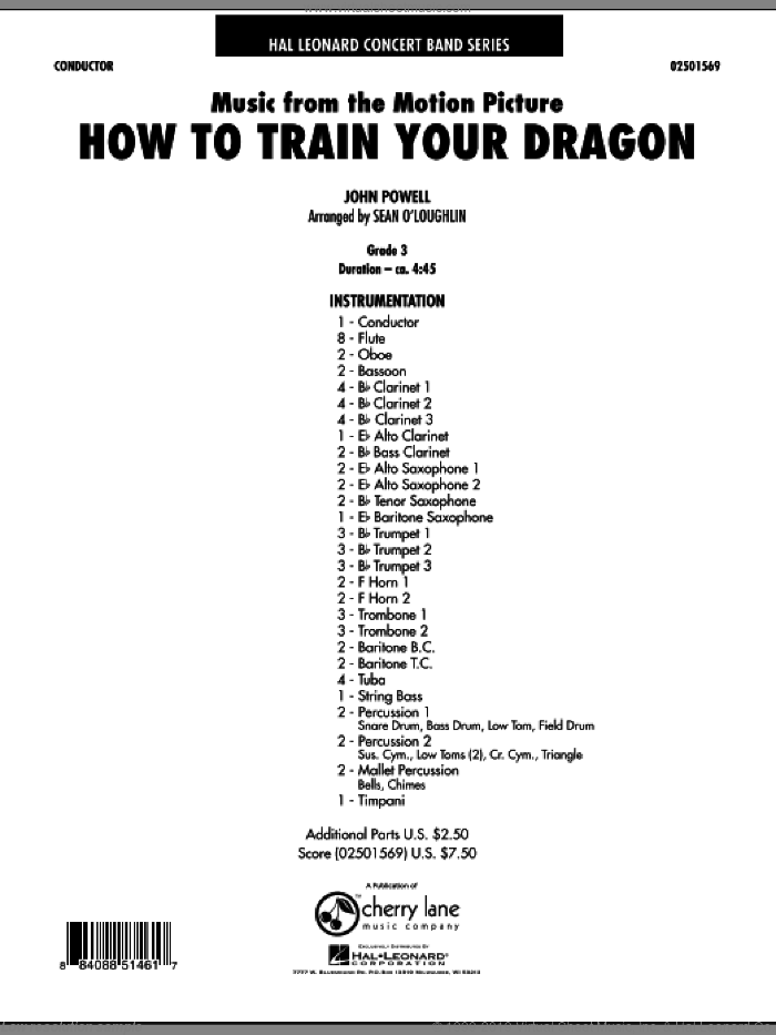 Music from How To Train Your Dragon (COMPLETE) sheet music for concert band by John Powell, intermediate skill level