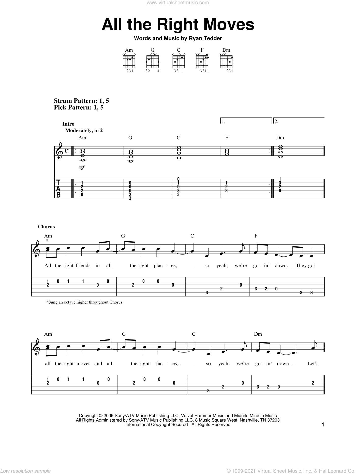 All The Right Moves sheet music for guitar solo (easy tablature) by Ryan Tedder