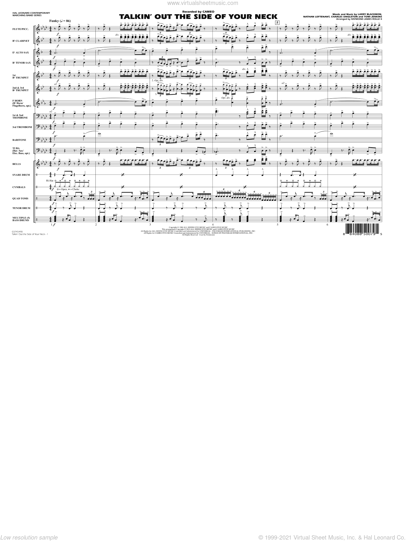 Talkin' Out The Side Of Your Neck sheet music for marching band (full score) by Charles Singleton