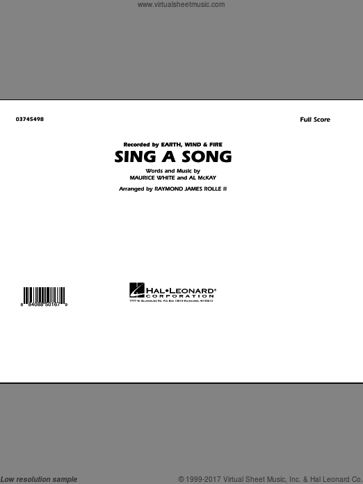 Sing A Song (COMPLETE) sheet music for marching band by Al McKay