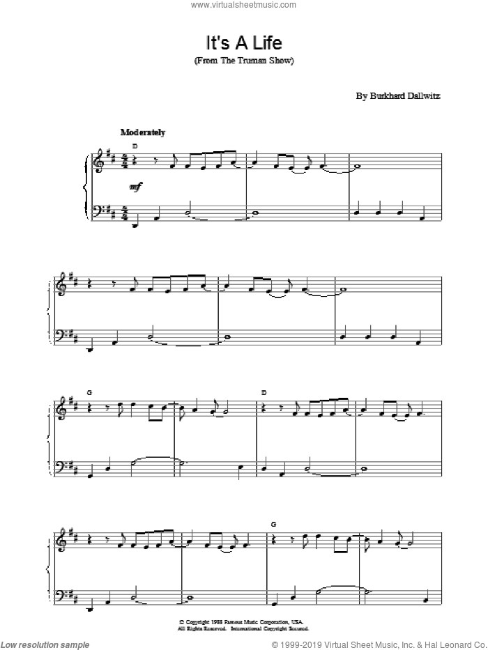 It's a Life sheet music for piano solo by Burkhard Dallwitz