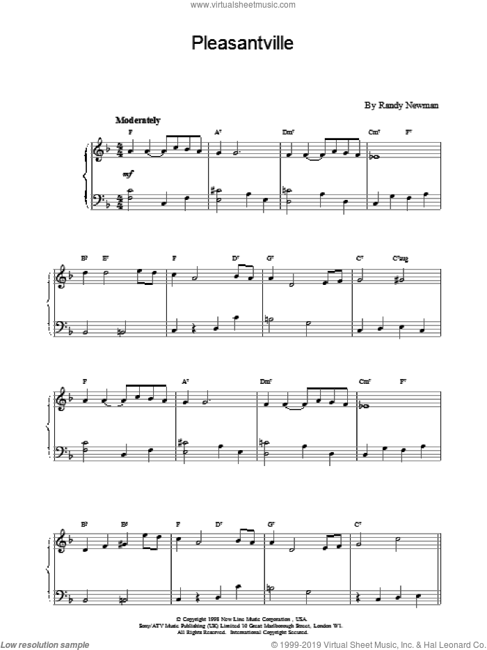 Pleasantville sheet music for piano solo by Randy Newman, intermediate skill level