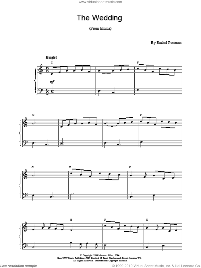 The Wedding sheet music for piano solo by Rachel Portman, intermediate skill level