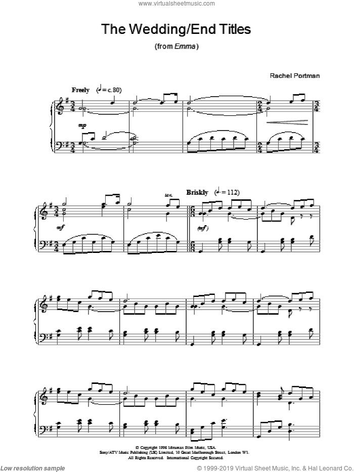 The Wedding/End Titles sheet music for piano solo by Rachel Portman, wedding score, intermediate skill level