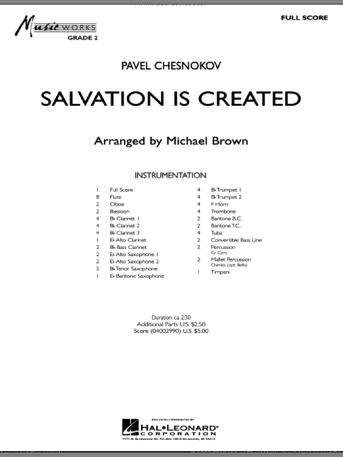 Salvation Is Created (COMPLETE) sheet music for concert band by Pavel Chesnokov and Michael Brown, classical score, intermediate skill level