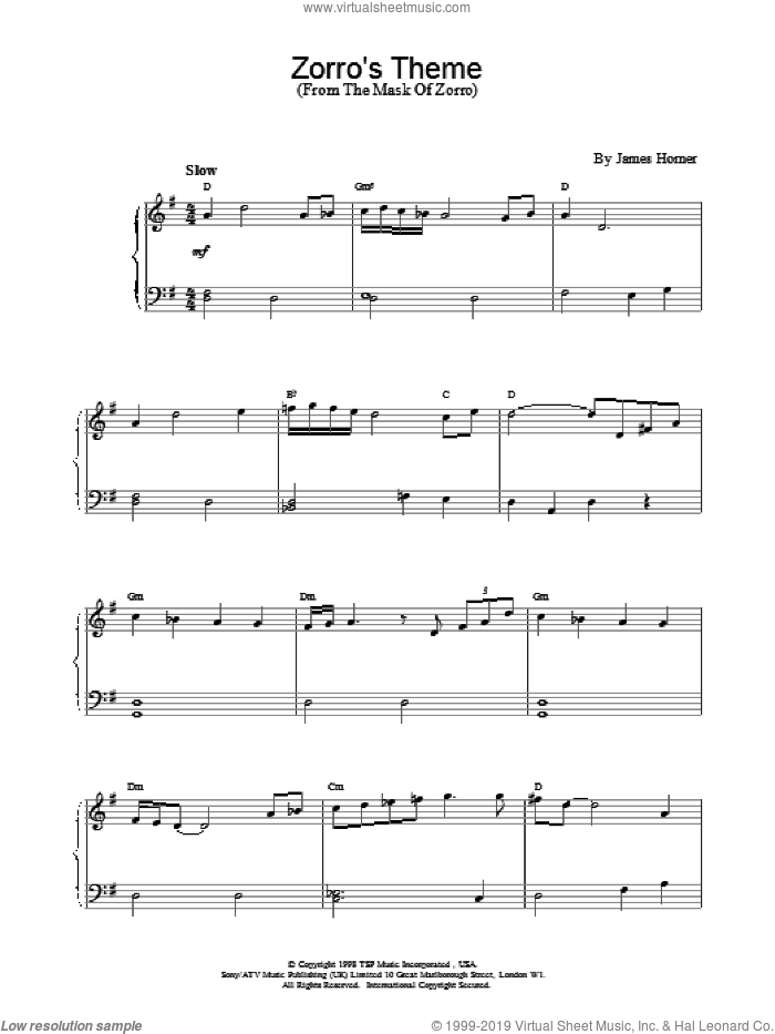 Zorro's Theme sheet music for piano solo by James Horner, intermediate skill level