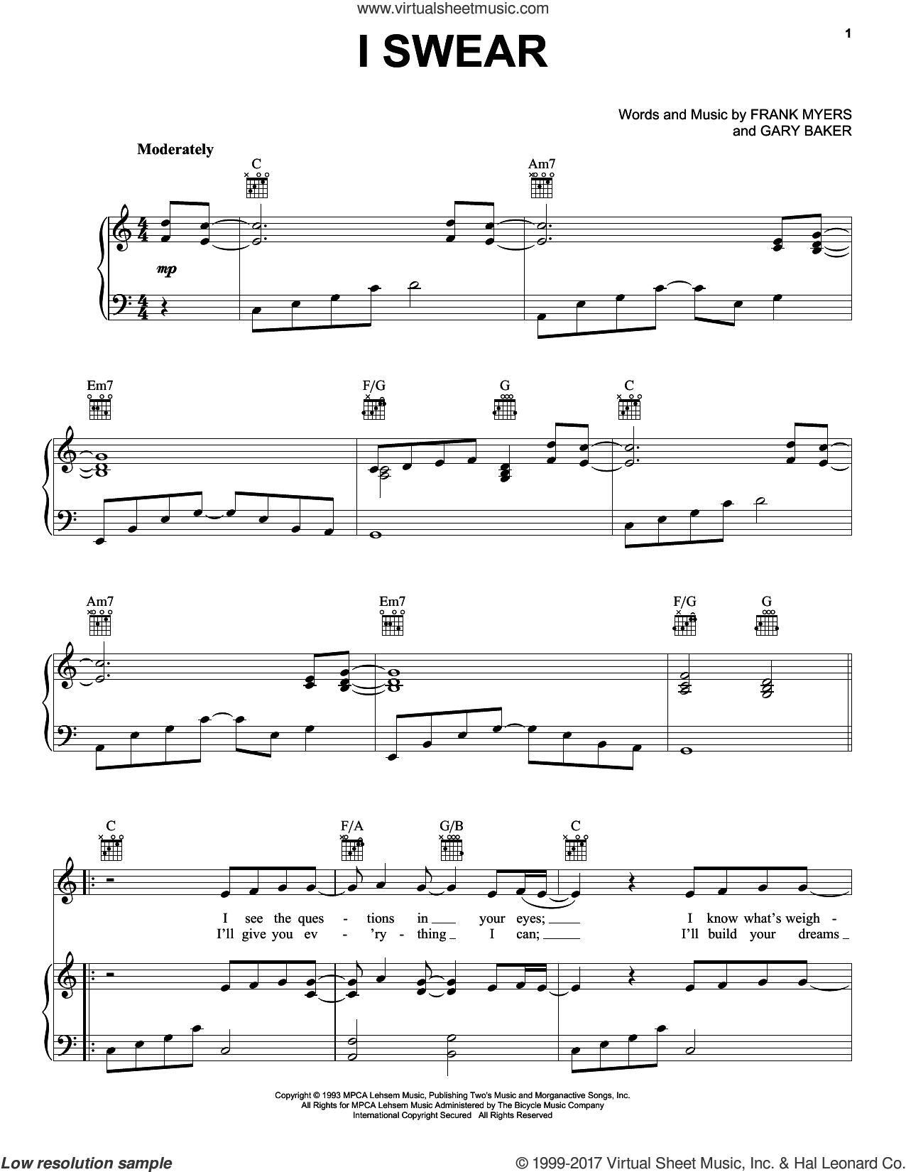 I Swear sheet music for voice, piano or guitar by John Michael Montgomery, All-4-One, David Foster, Frank Myers and Gary Baker, wedding score, intermediate