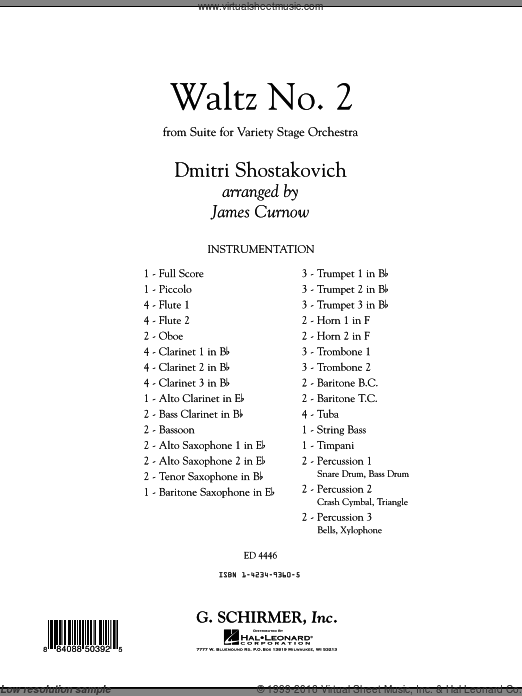 Waltz No. 2 (from Suite For Variety Stage Orchestra) (COMPLETE) sheet music for concert band by Dmitri Shostakovich