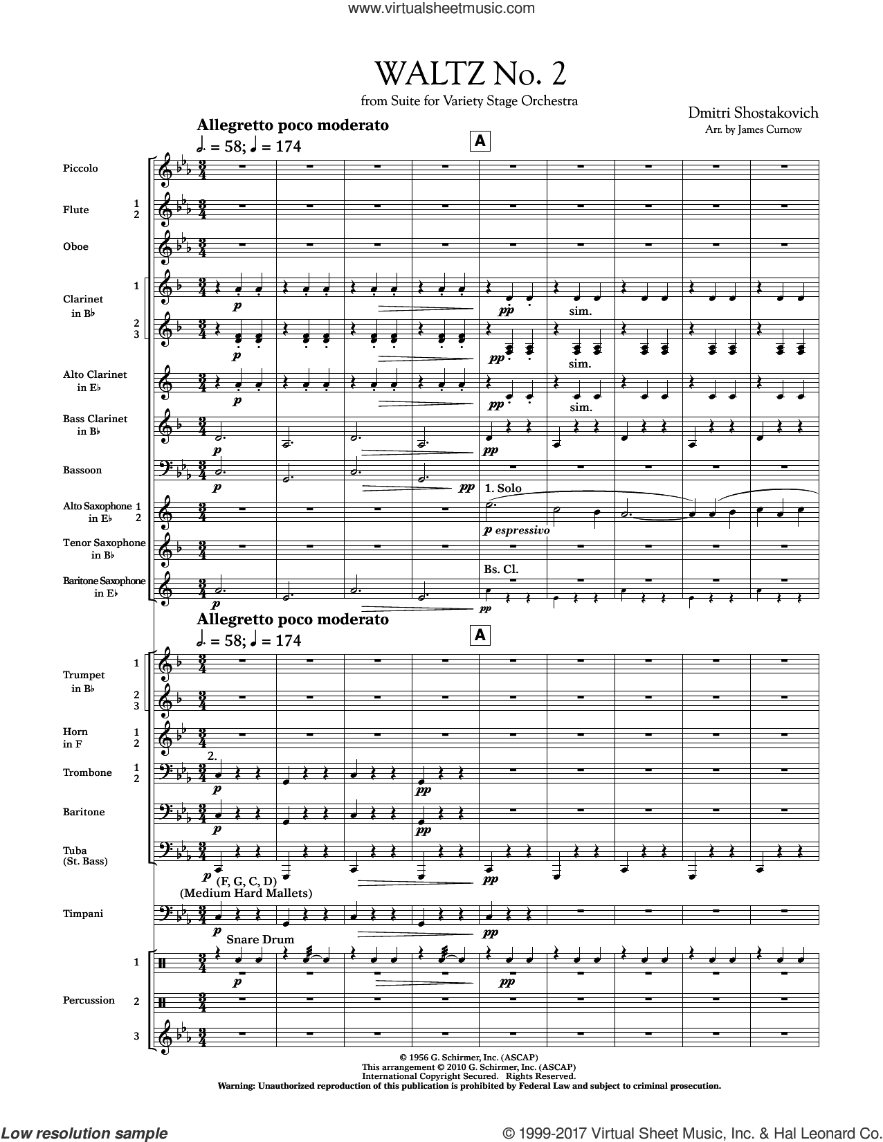 Waltz No. 2 (from Suite For Variety Stage Orchestra) (COMPLETE) sheet music for concert band by Dmitri Shostakovich and James Curnow, classical score, intermediate skill level