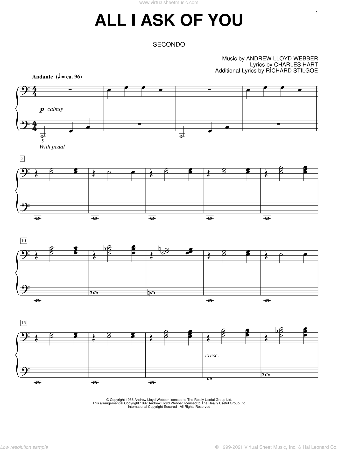 All I Ask Of You sheet music for piano four hands (duets) by Richard Stilgoe