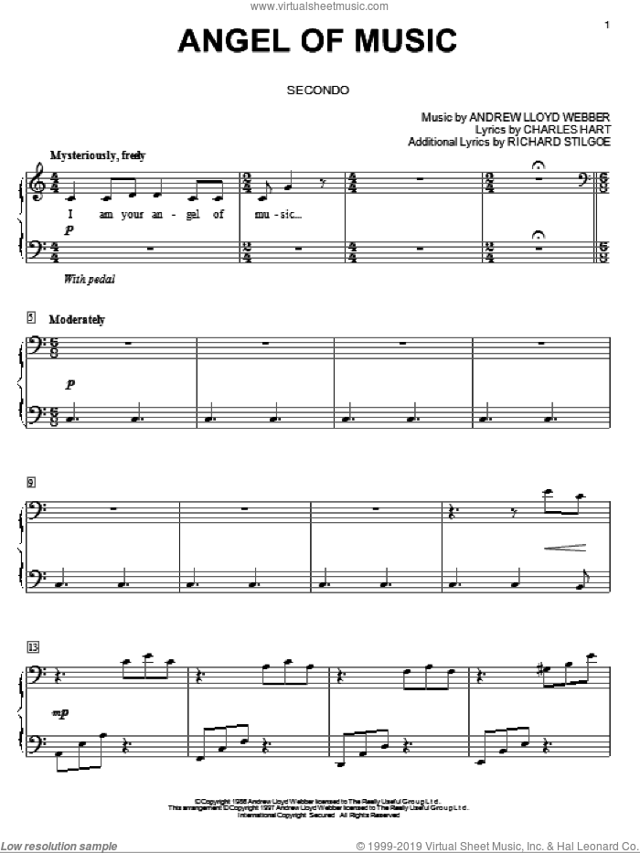 Angel Of Music sheet music for piano four hands (duets) by Andrew Lloyd Webber. Score Image Preview.