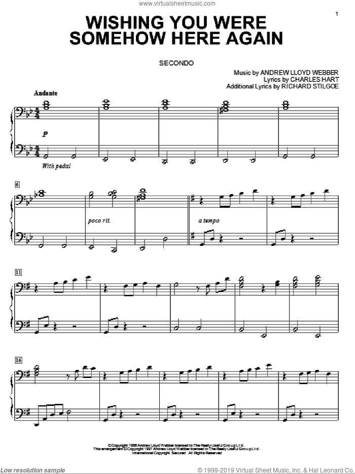 Wishing You Were Somehow Here Again sheet music for piano four hands (duets) by Richard Stilgoe, Andrew Lloyd Webber and Charles Hart. Score Image Preview.