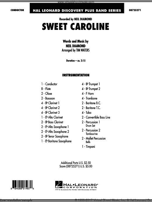 Sweet Caroline (COMPLETE) sheet music for concert band by Tim Waters and Neil Diamond. Score Image Preview.