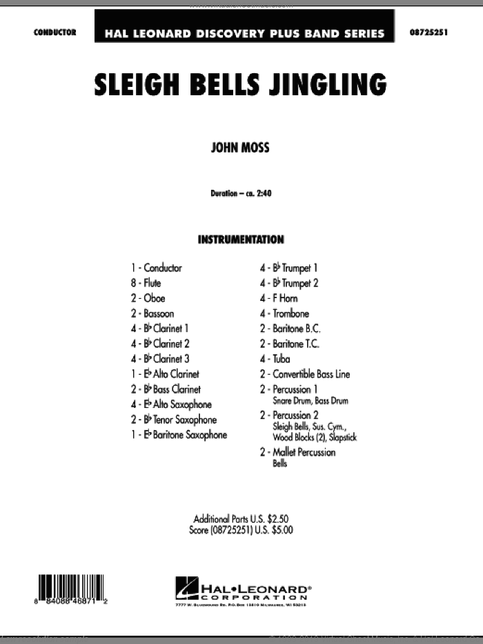 Sleigh Bells Jingling (COMPLETE) sheet music for concert band by John Moss, intermediate. Score Image Preview.