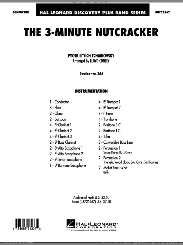 The 3-Minute Nutcracker (COMPLETE) sheet music for concert band by Pyotr Ilyich Tchaikovsky and Lloyd Conley, classical score, intermediate. Score Image Preview.