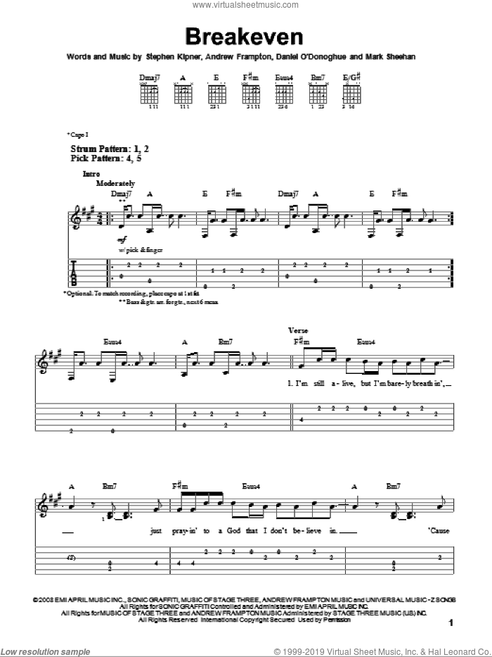 Breakeven sheet music for guitar solo (easy tablature) by Steve Kipner