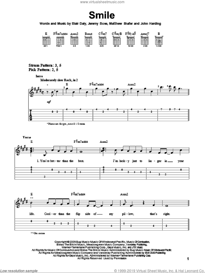 Smile sheet music for guitar solo (easy tablature) by Uncle Kracker, Blair Daly, Jeremy Bose, John Harding and Matthew Shafer, easy guitar (easy tablature)