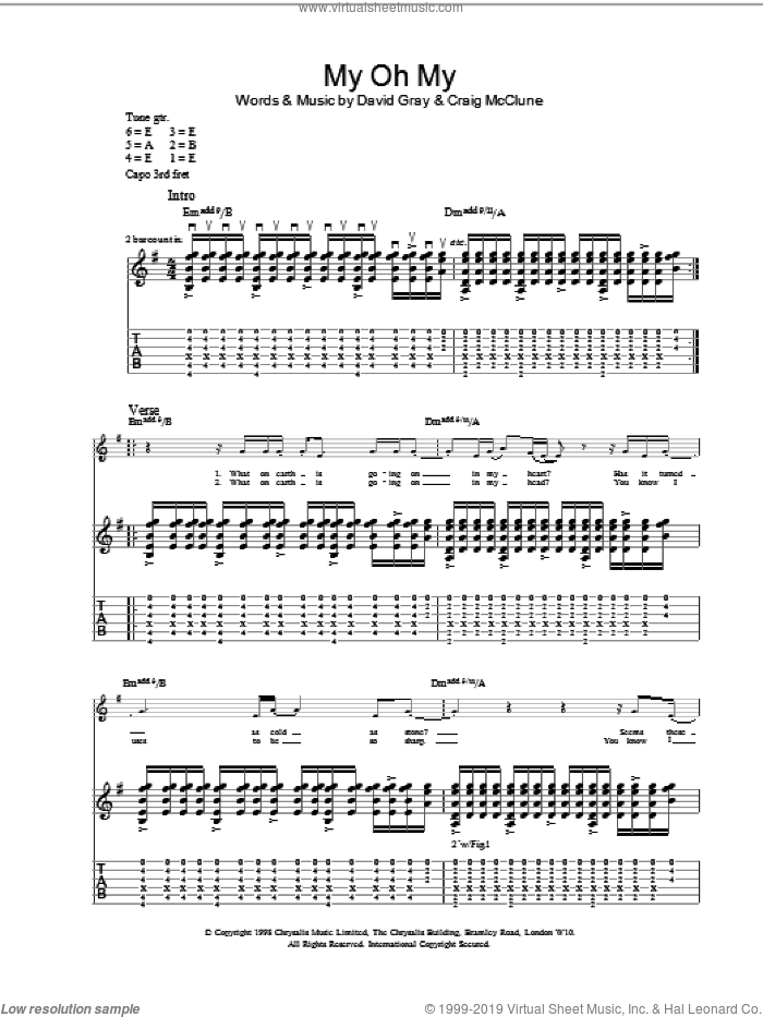 My Oh My sheet music for guitar (tablature) by David Gray, intermediate. Score Image Preview.