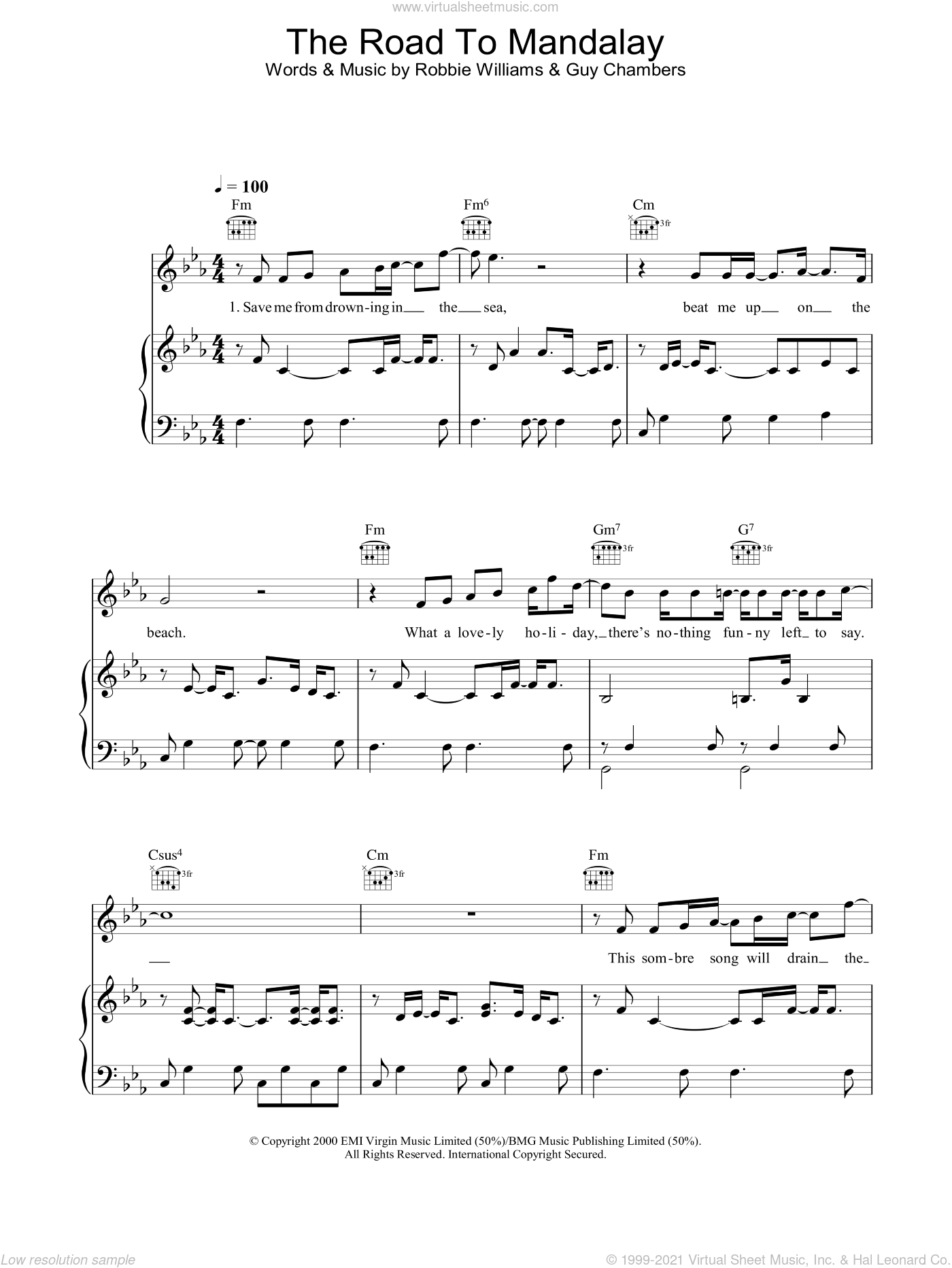 The Road To Mandalay sheet music for voice, piano or guitar by Guy Chambers and Robbie Williams. Score Image Preview.
