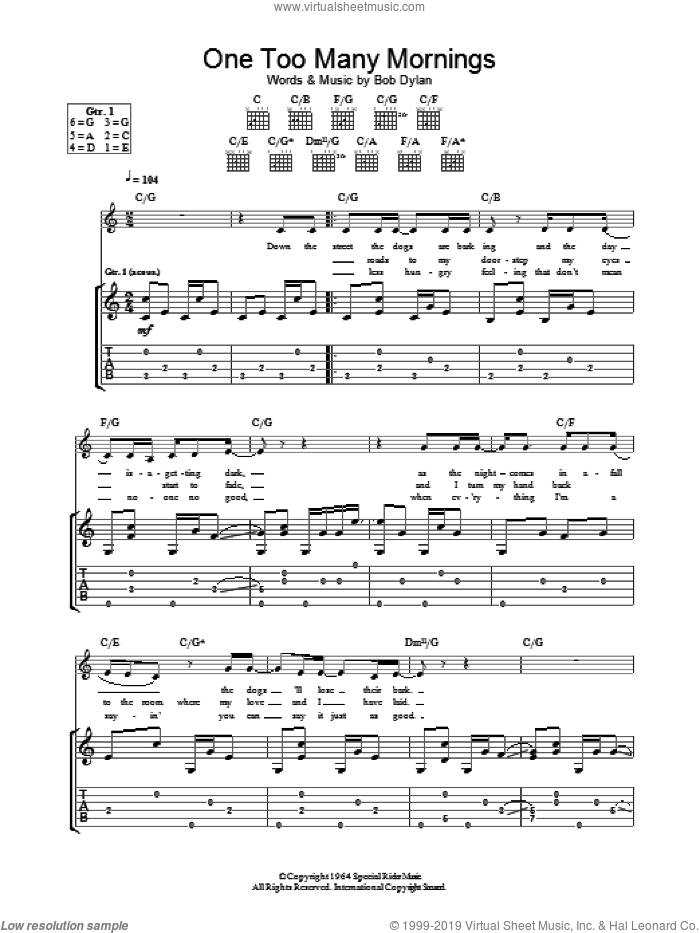 One Too Many Mornings sheet music for guitar (tablature) by Bob Dylan. Score Image Preview.