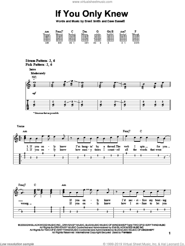If You Only Knew sheet music for guitar solo (easy tablature) by Shinedown, Brent Smith and Dave Bassett, easy guitar (easy tablature). Score Image Preview.