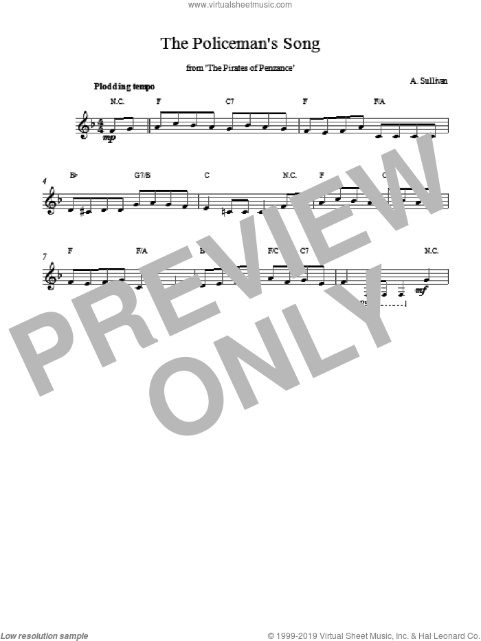 Policeman's Song From The Pirates Of Penzance sheet music for voice and other instruments (fake book) by Arthur Sullivan and Sullivan. Score Image Preview.