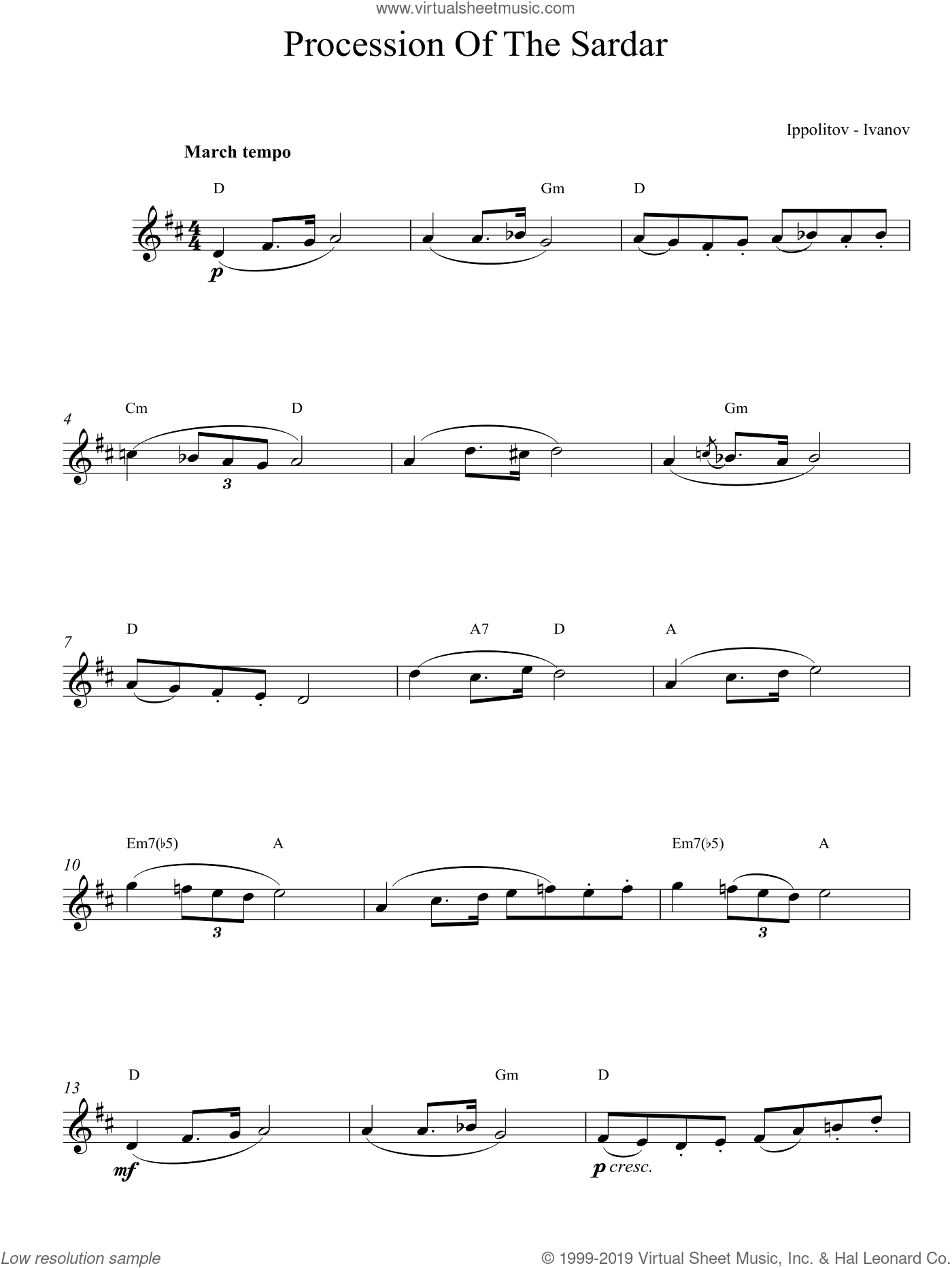 Procession Of The Sardar sheet music for voice and other instruments (fake book) by Ivanov Ippolitov. Score Image Preview.