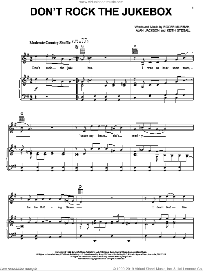Don't Rock The Jukebox sheet music for voice, piano or guitar by Roger Murrah, Alan Jackson and Keith Stegall. Score Image Preview.