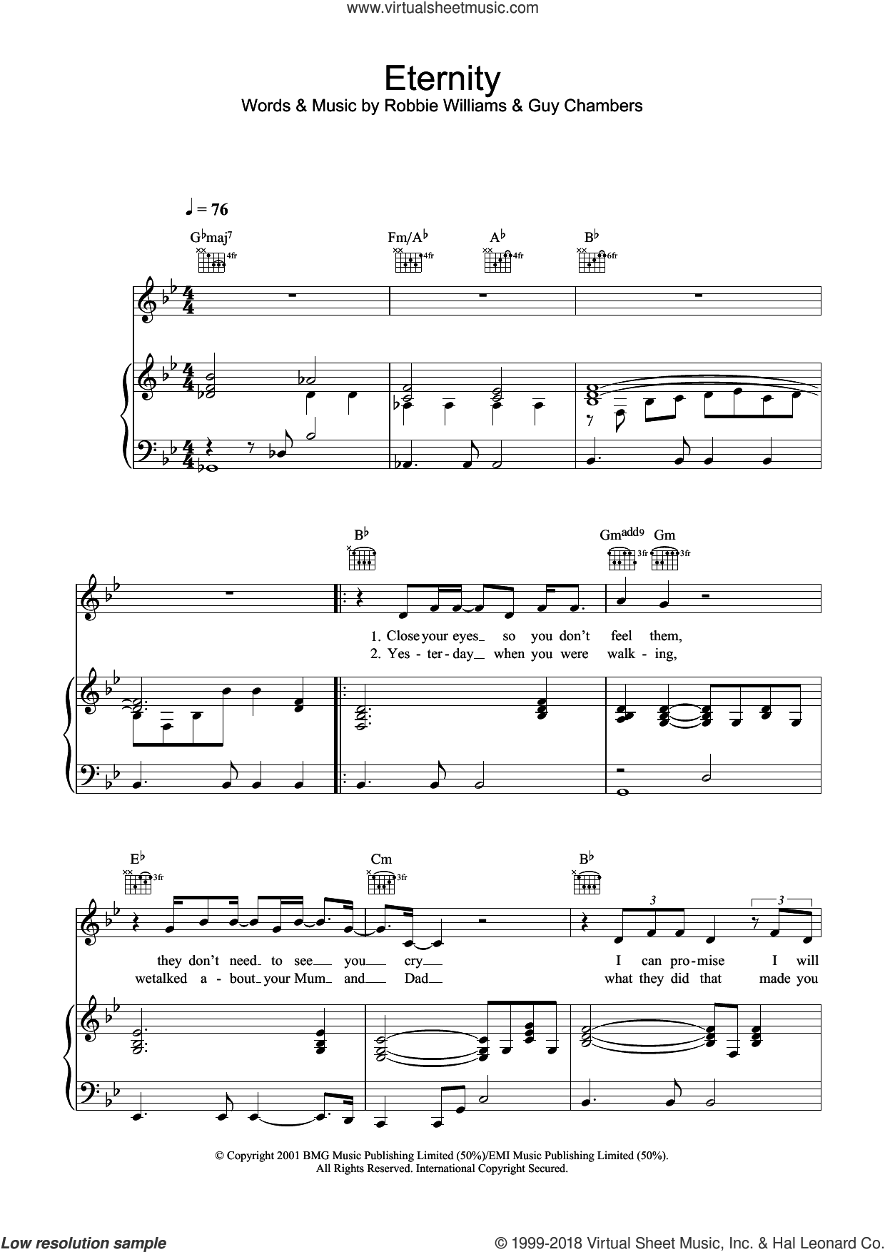 Eternity sheet music for voice, piano or guitar by Robbie Williams and Guy Chambers, intermediate. Score Image Preview.
