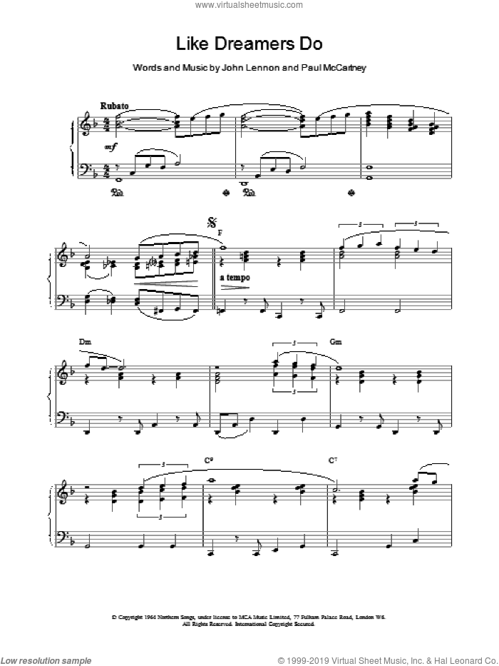 Like Dreamers Do sheet music for piano solo by The Beatles, LENNON and Paul McCartney, intermediate skill level
