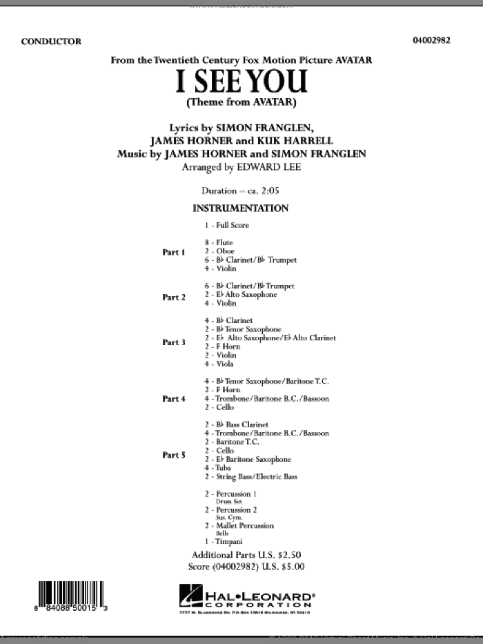 I See You (Theme from Avatar) (COMPLETE) sheet music for concert band by James Horner, Kuk Harrell, Simon Franglen, Edward Lee and Leona Lewis, intermediate skill level