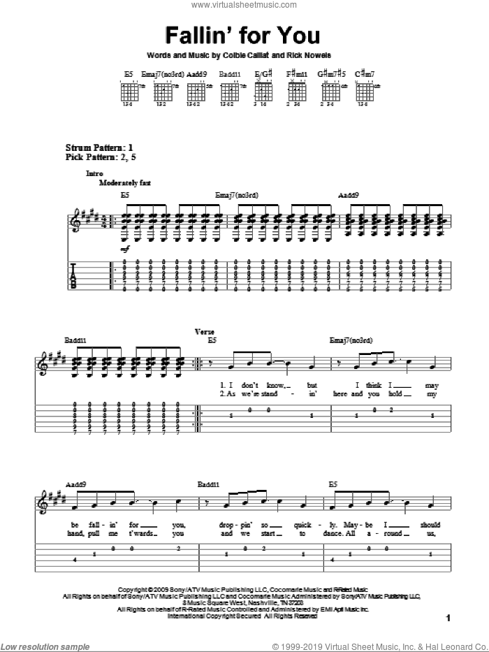 Fallin' For You sheet music for guitar solo (easy tablature) by Colbie Caillat and Rick Nowels