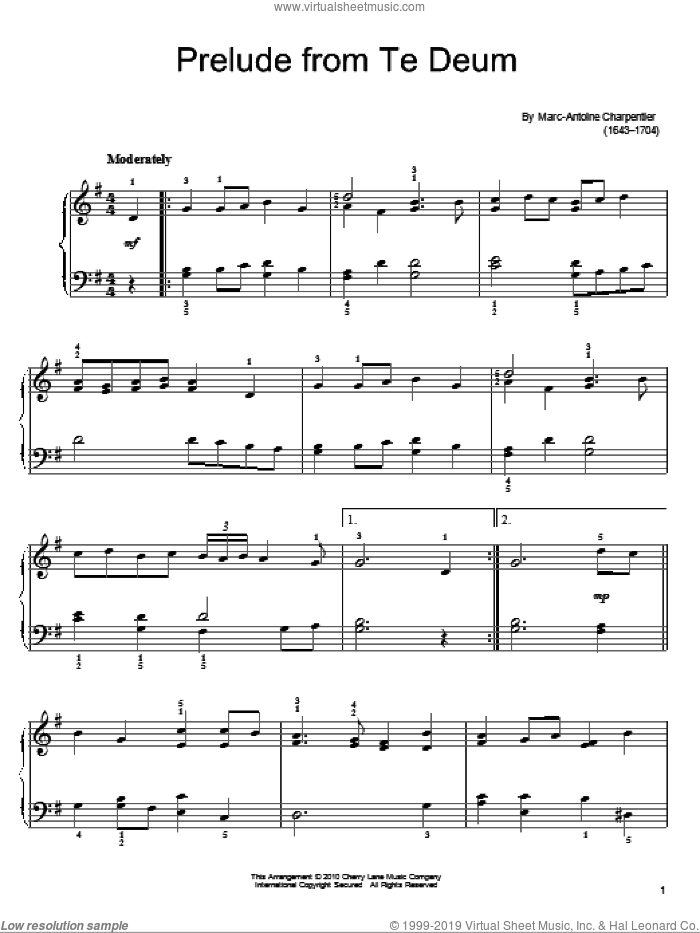 Prelude sheet music for piano solo by Marc-Antoine Charpentier, classical score, easy piano. Score Image Preview.