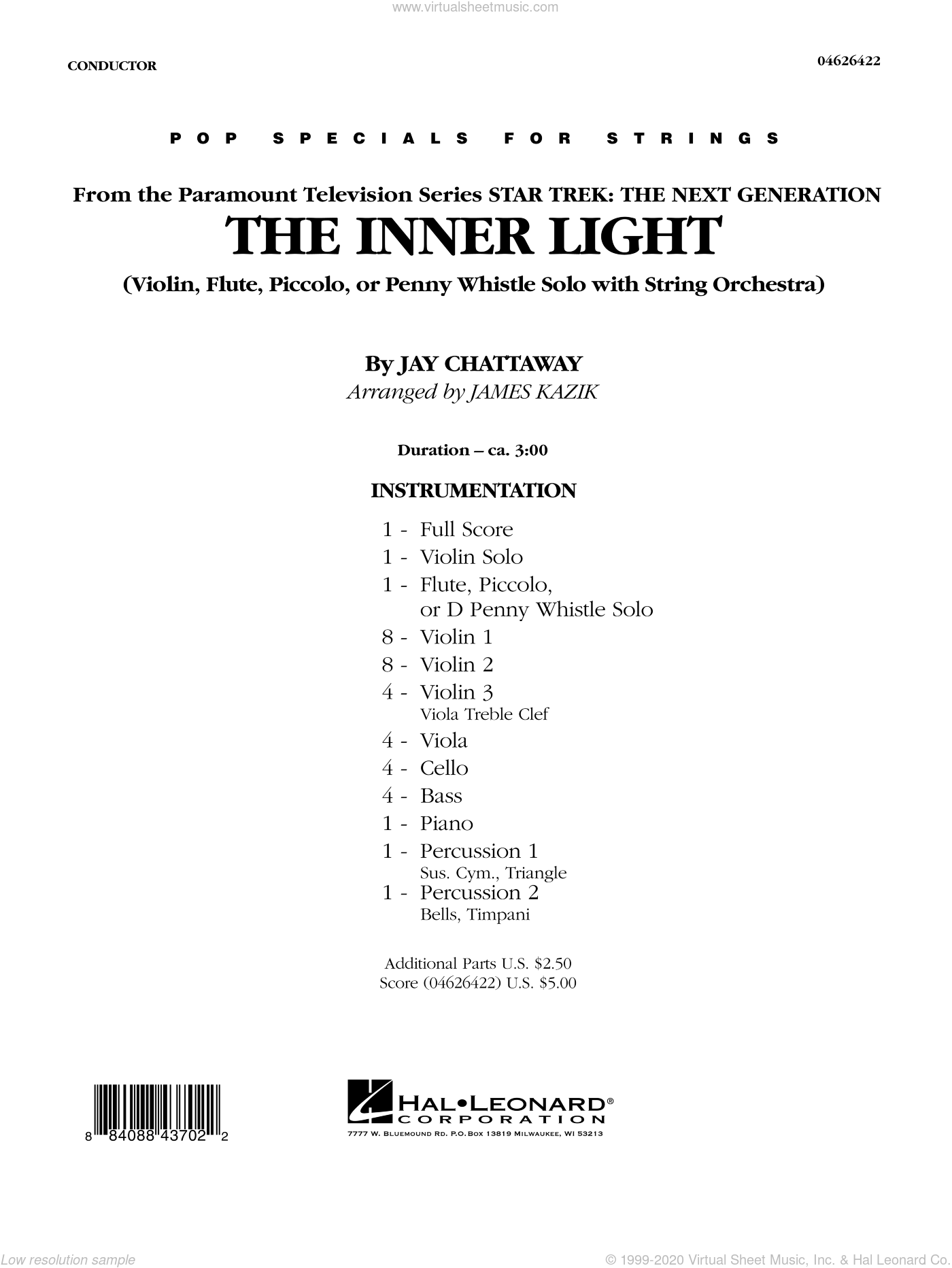 The Inner Light (Solo with Strings) sheet music for orchestra (full score) by Jay Chattaway