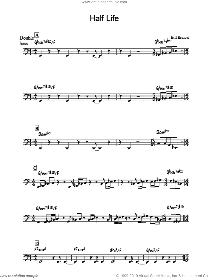 Half Life sheet music for voice and other instruments (fake book) by Bill Bruford, intermediate skill level