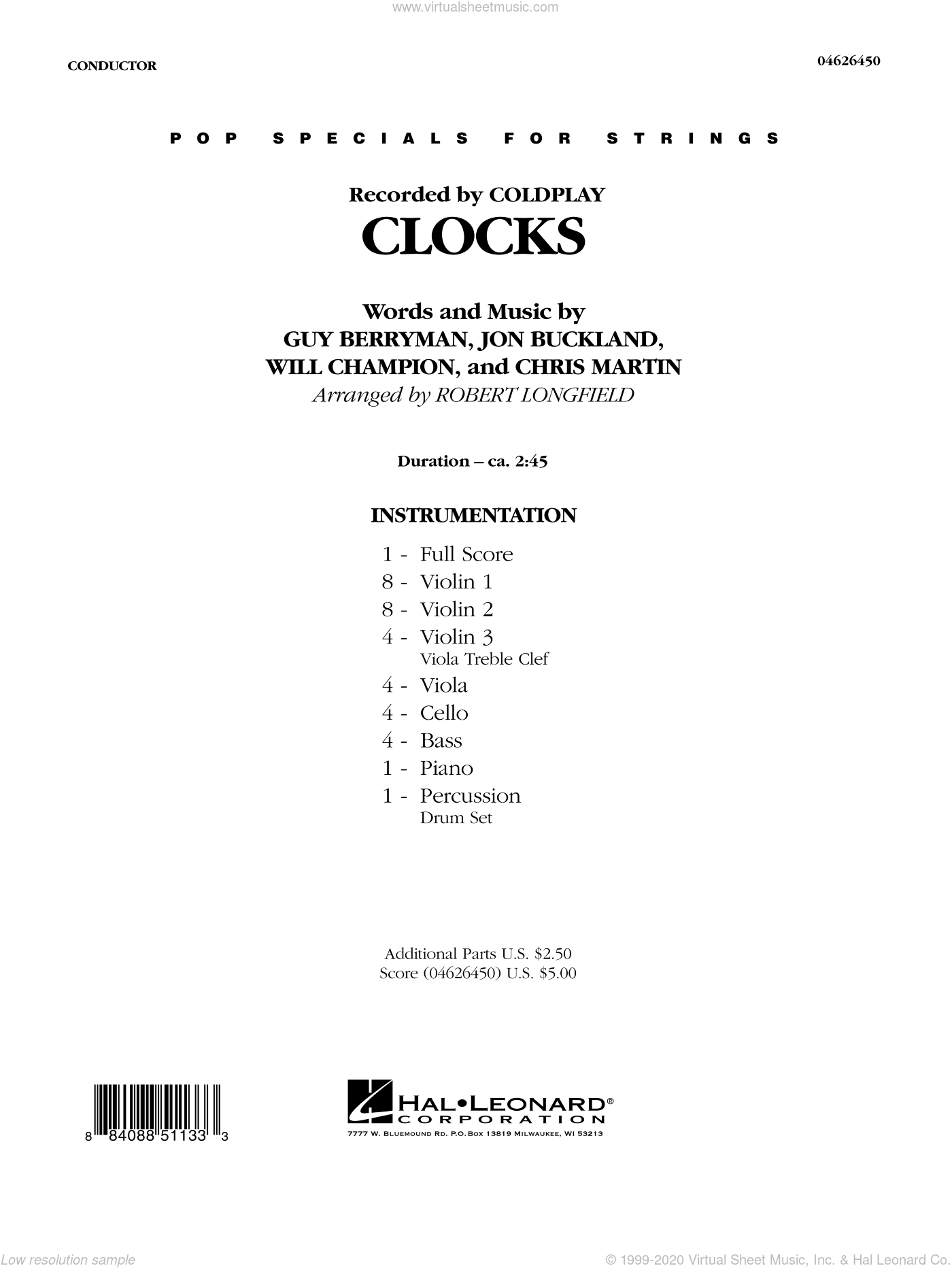Clocks sheet music for orchestra (full score) by Chris Martin