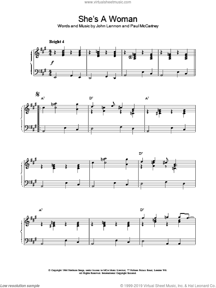 She's A Woman sheet music for piano solo by The Beatles, intermediate skill level