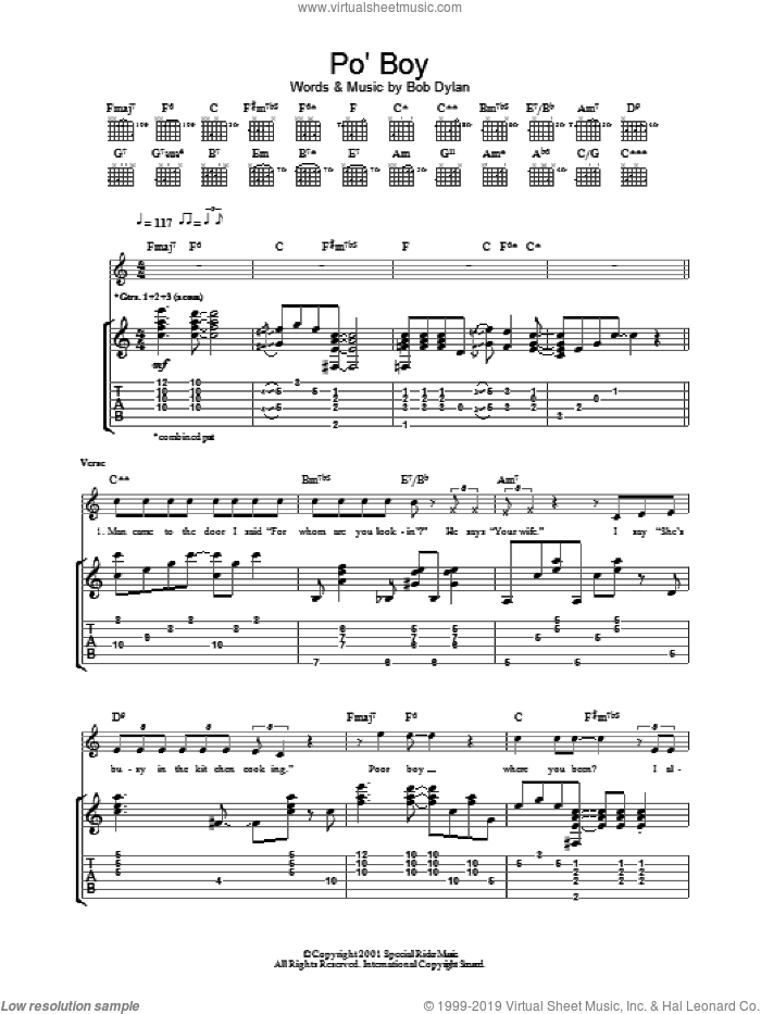 Po' Boy sheet music for guitar (tablature) by Bob Dylan. Score Image Preview.