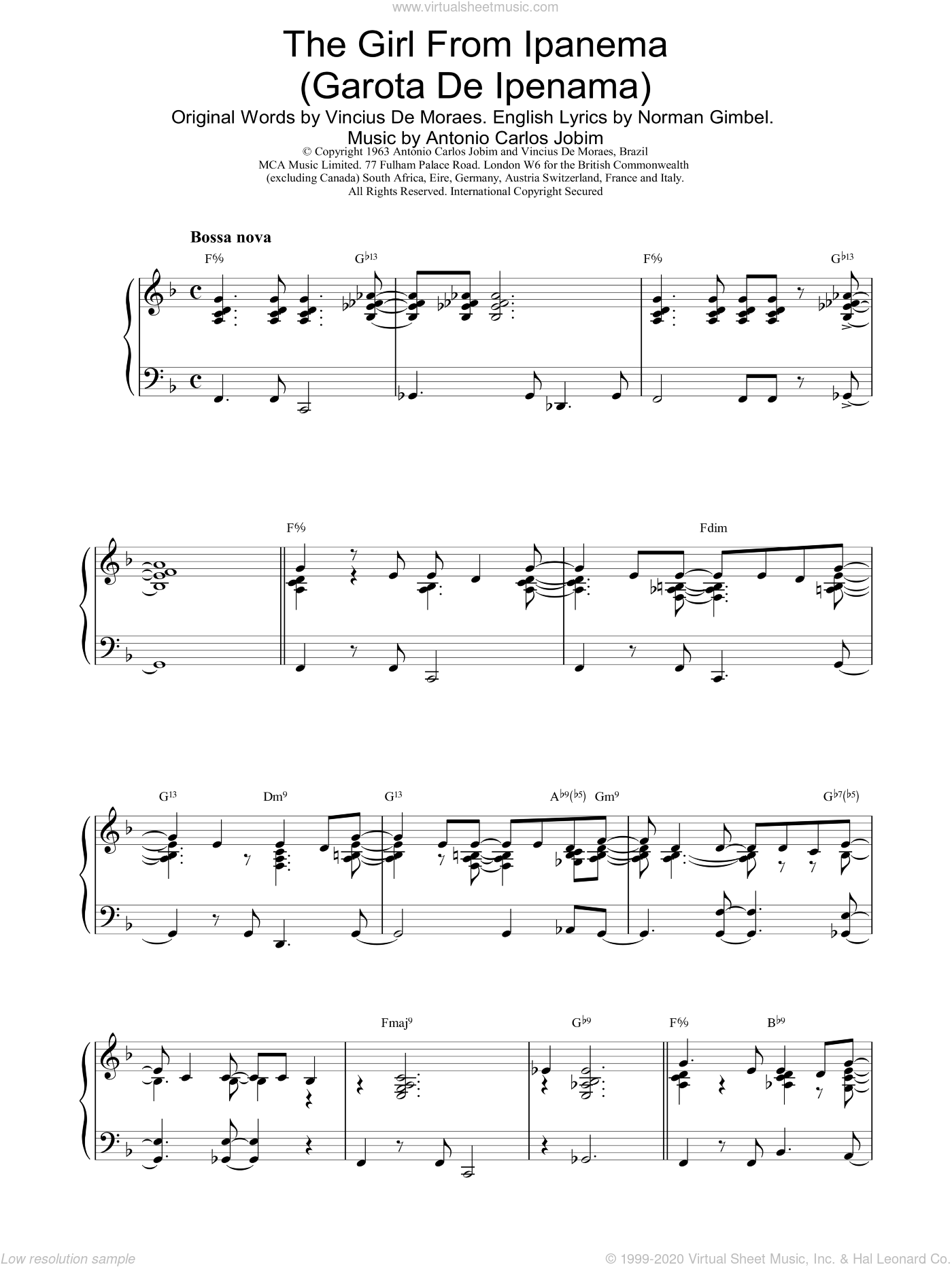 The Girl From Ipanema sheet music for piano solo by Antonio Carlos Jobim, intermediate piano. Score Image Preview.