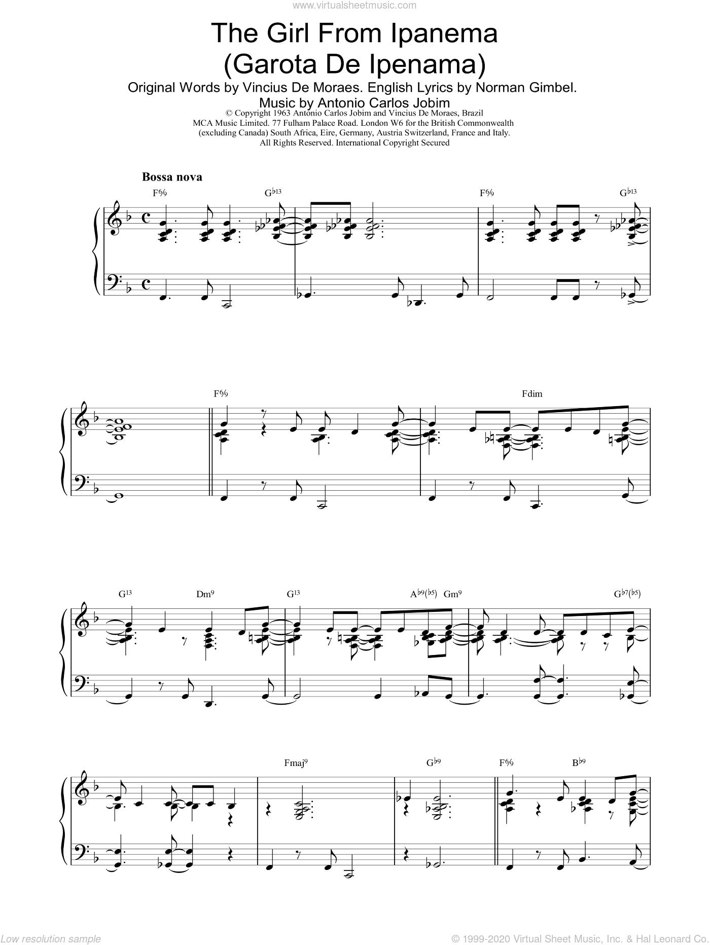 The Girl From Ipanema sheet music for piano solo by Antonio Carlos Jobim, intermediate skill level