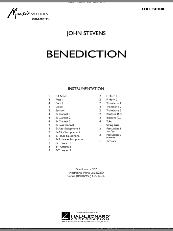 Benediction sheet music for concert band (full score) by John Stevens