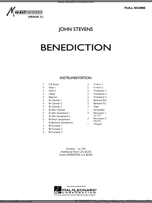 Benediction (COMPLETE) sheet music for concert band by John Stevens
