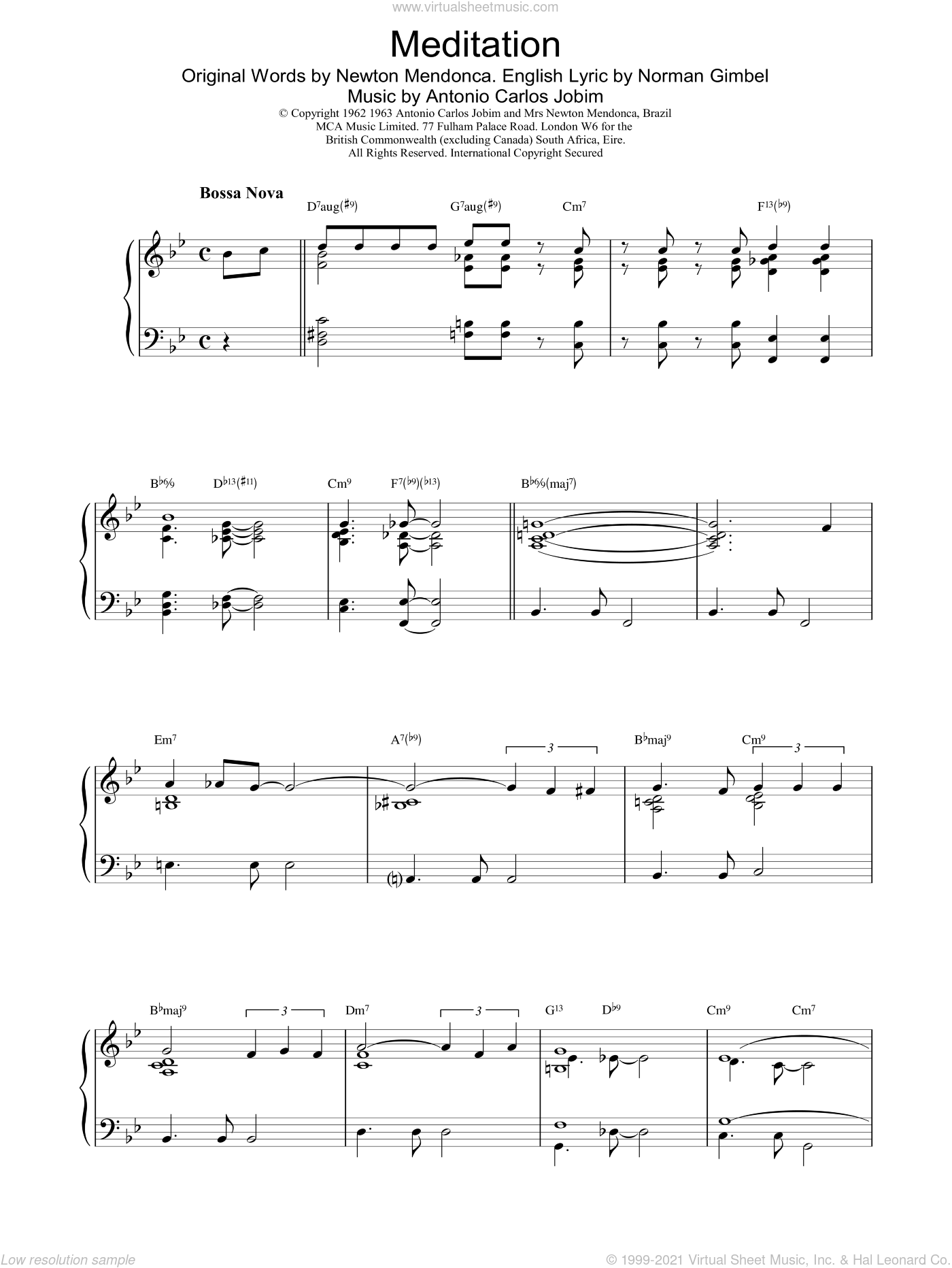 Meditation sheet music for piano solo by Antonio Carlos Jobim and Gerry Mulligan, intermediate. Score Image Preview.
